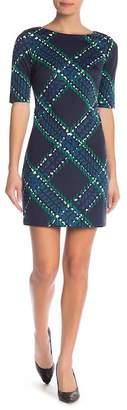 Eliza J Elbow Sleeve Print Shift Dress