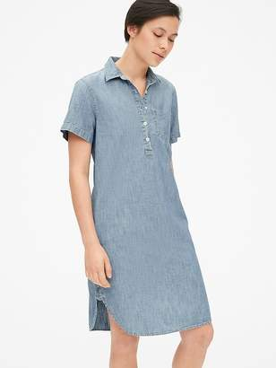Gap Perfect Short Sleeve Popover Shirt Dress in Chambray