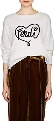 Fendi Women's Logo Fuzzy Knit Cashmere-Silk Sweater