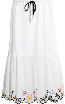 See by Chloé - Scalloped Embroidered Cotton-poplin Midi Skirt - White $325 thestylecure.com