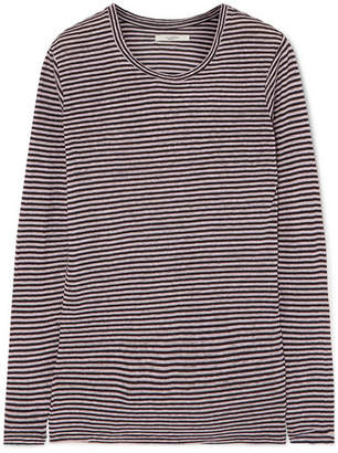 Etoile Isabel Marant Kaaron Striped Linen And Cotton-blend Top - Lilac
