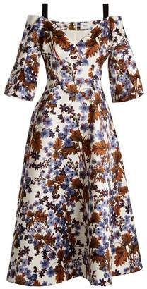 Erdem Karol Open Shoulder Duchess Satin Dress - Womens - Blue Print