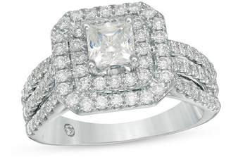 Zales Celebration GrandA 1-5/8 CT. T.W. Princess-Cut Diamond Double Frame Multi-Row Engagement Ring in 14K White Gold (I/I1)