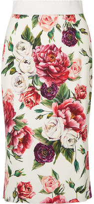 Dolce & Gabbana Floral-print Cady Midi Skirt - Pink