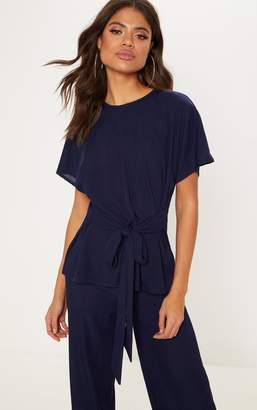 PrettyLittleThing Navy Tie Front Slouchy Set
