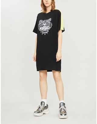 Kenzo Tiger-embroidered crepe dress