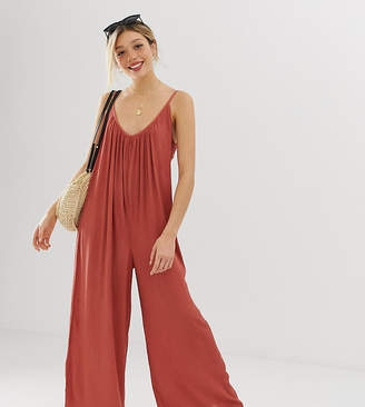 9a384464da Asos DESIGN Petite low back jumpsuit in crinkle