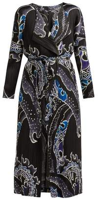 Pleats Please Issey Miyake Flame Pleated Coat - Womens - Black Blue