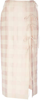 Brock Collection Oleandro Plaid Tie Detail Skirt