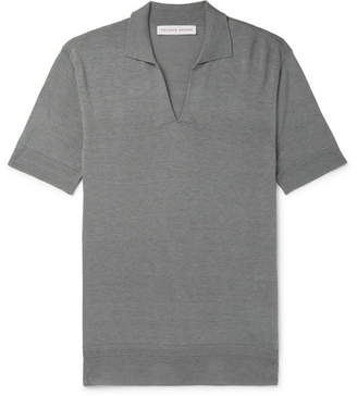 Orlebar Brown Mallory Slim-fit Silk And Cotton-blend Polo Shirt - Gray