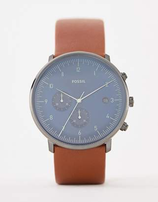 Fossil FS5486 Chase leather watch in tan 42mm