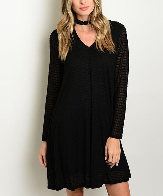 Black Stripe Hooded V-Neck Dress