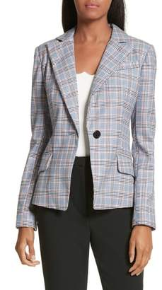 Milly Check Suiting Belted Blazer