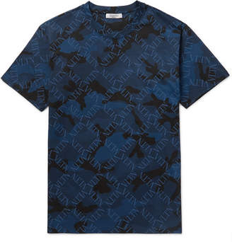 Valentino Slim-Fit Logo and Camouflage-Print Cotton-Jersey T-Shirt - Men - Blue