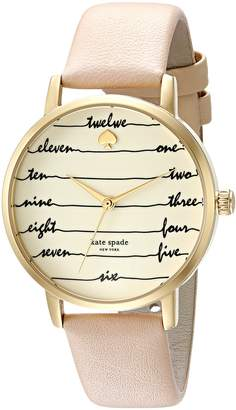 Kate Spade Women's 'Metro' Quartz Stainless Steel and Leather Casual Watch, Color Brown (Model: KSW1059)