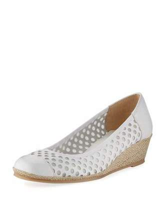 Sesto Meucci Mabyn Leather Wedge Slip-On Espadrille, White $185 thestylecure.com
