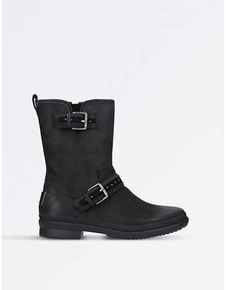 UGG Ladies Black Waterproof Jenise Leather Rain Boots