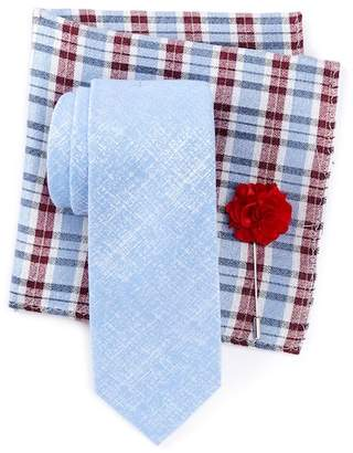 Ben Sherman Raglen Solid Tie, Pocket Square, & Lapel Stick Pin Set $75 thestylecure.com