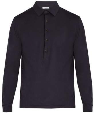 Tomas Maier Long Sleeved Cotton Polo Shirt - Mens - Navy