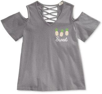 Monteau Graphic Cold-Shoulder Top, Big Girls (7-16) $24 thestylecure.com