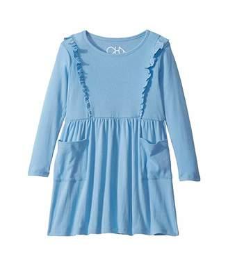 Chaser Baby Rib Long Sleeve Ruffle Dress w/ Pockets (Toddler/Little Kids)
