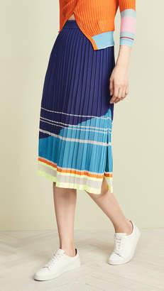 i-am-chen Slit Pleated Stripe Skirt