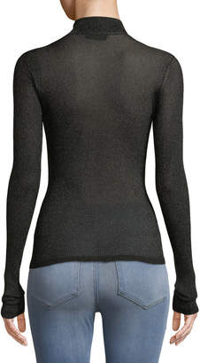 Missoni Lame Mock-Neck Sweater with Contrast Tipping
