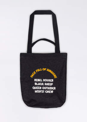 WildFang Ddg X DDG X Face Full Of Sunshine Denim Tote - Face Full Of Sunshine Tote - BLACK - OS
