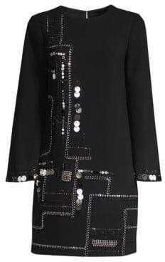 Trina Turk Winter Luxe Affair Embellished Shift Dress