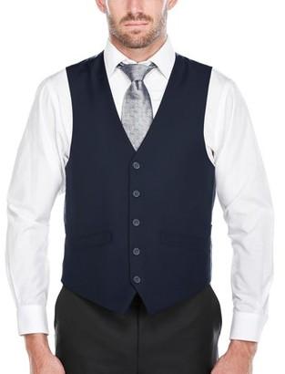 Verno Men's Navy Five Button Classic Fit Vest