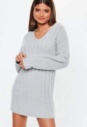 Missguided Grey Fluffy Ribbed Knit Sweater Dress