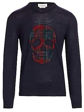 Alexander McQueen Men's Plaid Skull Graphic Wool Pullover