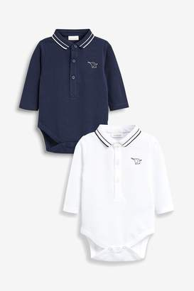 Next Boys Navy/White Poloshirt Bodysuits Two Pack (0mths-2yrs) - Blue