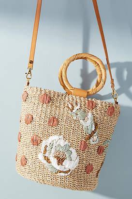 Aranaz Pomono Straw Bucket Bag