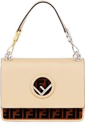 Fendi Kan I Small Logo Seal Leather Shoulder Bag