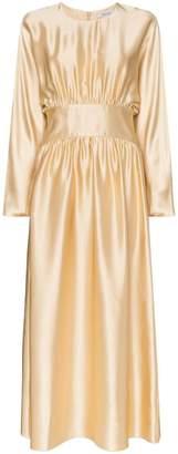 Deitas Hermine ruched waist silk maxi dress