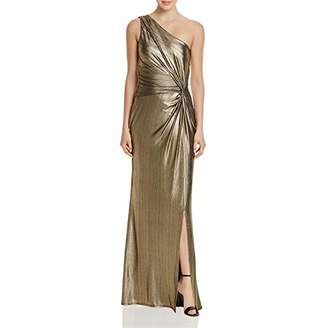 Laundry by Shelli Segal Women's One Shoulder Metallic Gown with Waist Twist