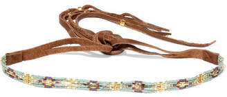 Chan Luu Leather, Bead And Gold-plated Choker - Brown