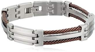 Cold Steel Stainless Steel and Immersion Plated Men's Cable Bracelet