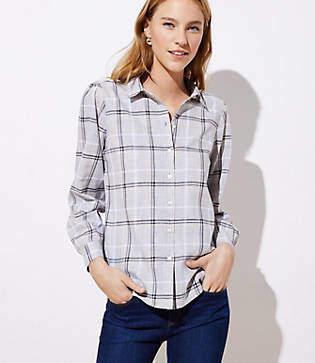 LOFT Plaid Button Down Shirt