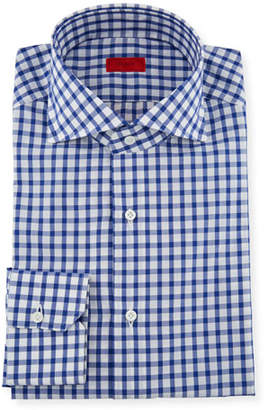 Isaia Men's Bold Check Dress Shirt