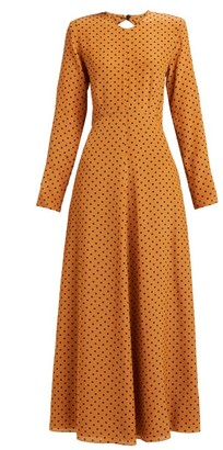 Raey Tie Back Polka Dot Silk Dress - Womens - Tan Print