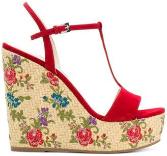 Prada floral woven wedge sandals