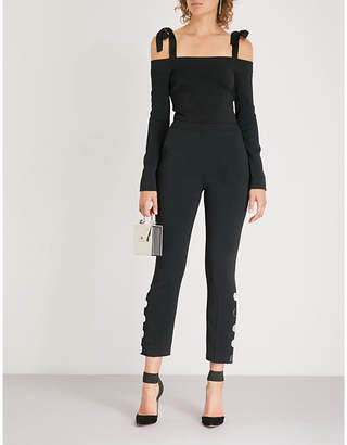David Koma Stud-embellished cady jumpsuit