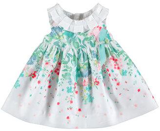 MAYORAL Sleeveless Smocked Floral Poplin Dress, Blue/White, Size 6-36 Months $60 thestylecure.com