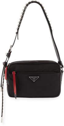 Prada Nylon Shoulder Bag with Studding