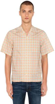 Prada Plaid Short Sleeve Cotton Bowling Shirt