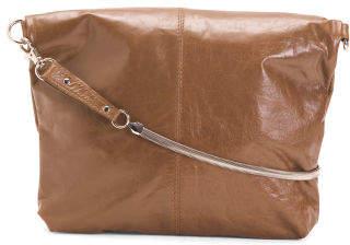 Fold Over Leather Crossbody
