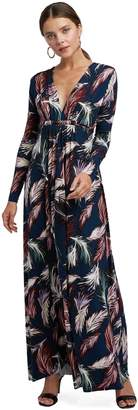 Rachel Pally Long Sleeve Full Length Caftan - Feather Print