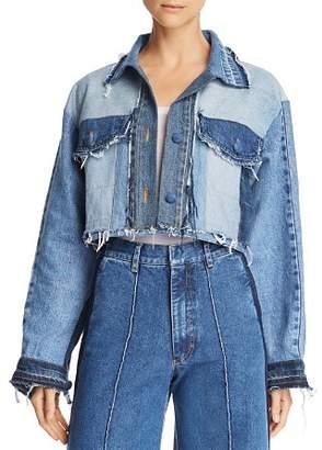 Ksenia Schnaider Cropped Patchwork Denim Jacket